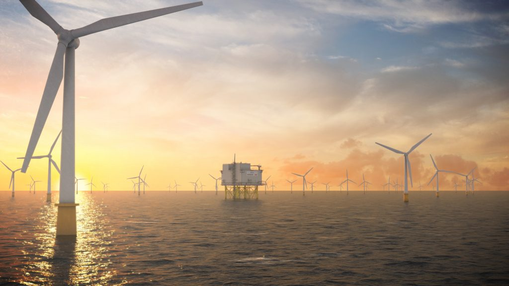 Artistic illustration of wind turbines and a substation at Dogger Bank Wind Farm by Aibel
